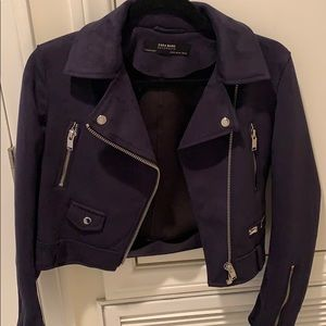 Dark blue suede motorcycle jacket